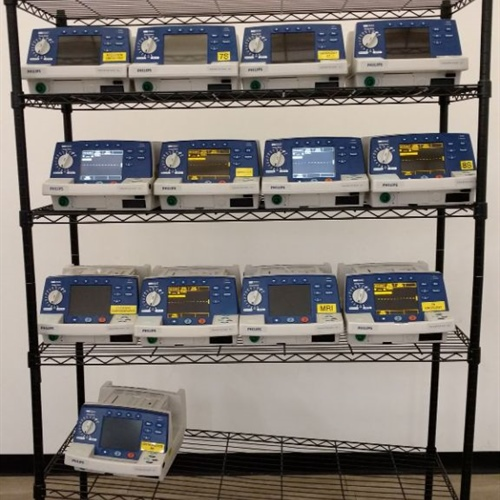 Lot of 13 - Philips Heartstart XL Defibrillators M4735A  w/  13 (M3516A)  Batteries