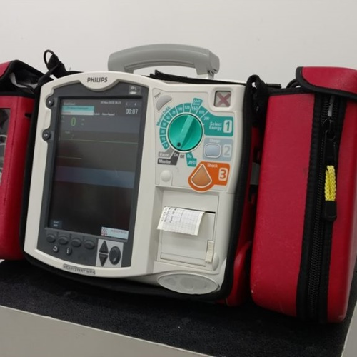Philips Heartstart MRX Defibrillator (M3535A) w/ 1 Battery & Red Carry Bag