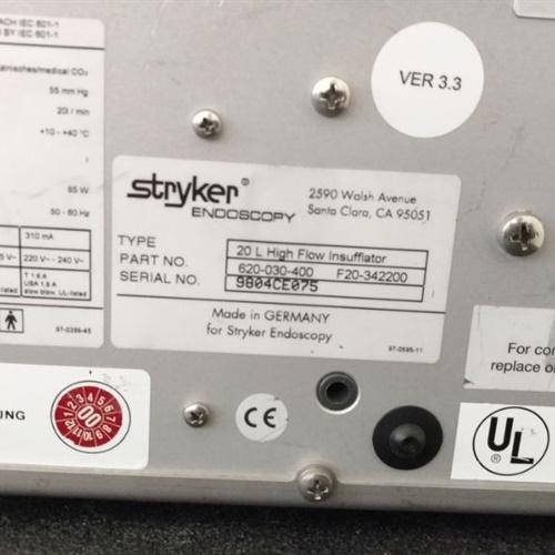 Stryker 20L High Flow Insufflator Ref 620-030-400