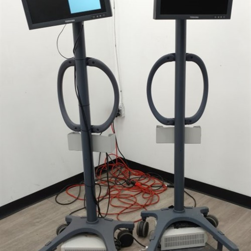 Lot of 2 Toshiba Monitors w/ Rolling Stands