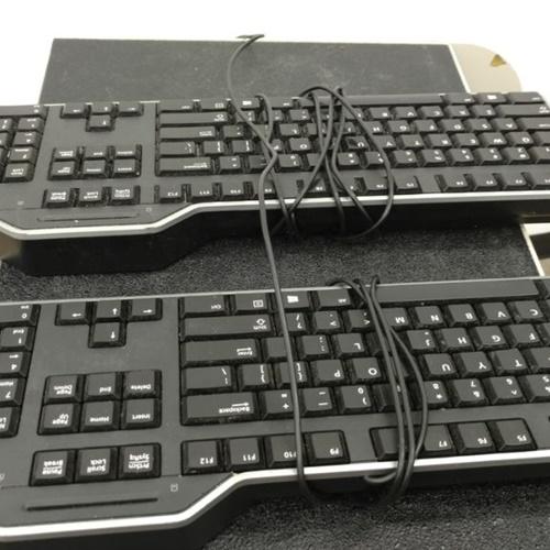 Lot of 2 DELL KB813 Black USB Smart Card Keyboard