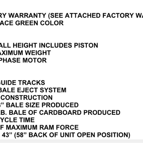 BRAND NEW- BACE Cardboard Baler- V63HD