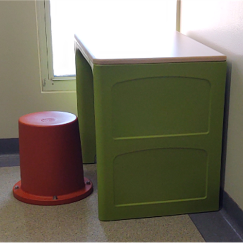 Small Green Desk and hat Chair for Kids at Wasatch Canyons