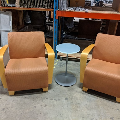 Group of 2 Nice Office Side Chairs and table