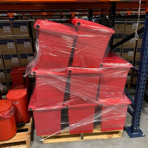 Pallet of 24 Plastic Step Open Lid Biohazard Containers