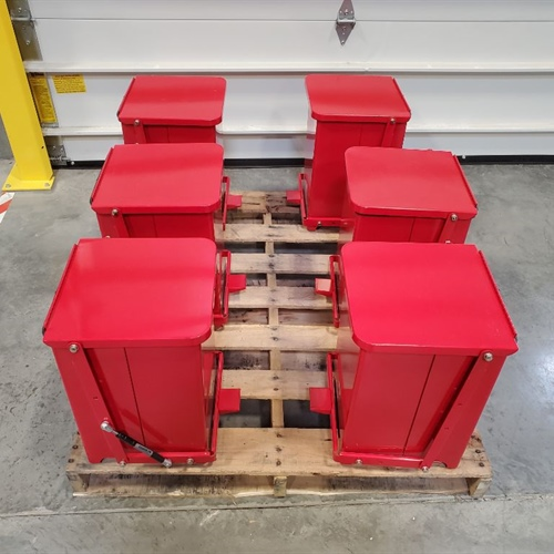 Rubbermaid red receptacles