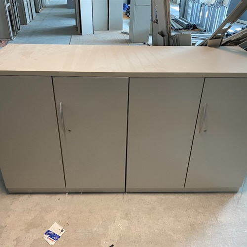 Double storage cabinet with solid surface top