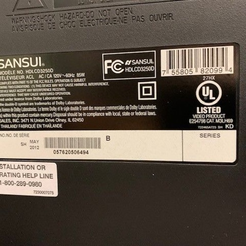 Sansui HDLCD3250 32-Inch 720p LCD TV (No remote)